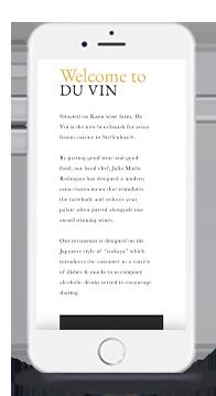 Du Vin Asian Fusion Restaurant on Mobile Phone