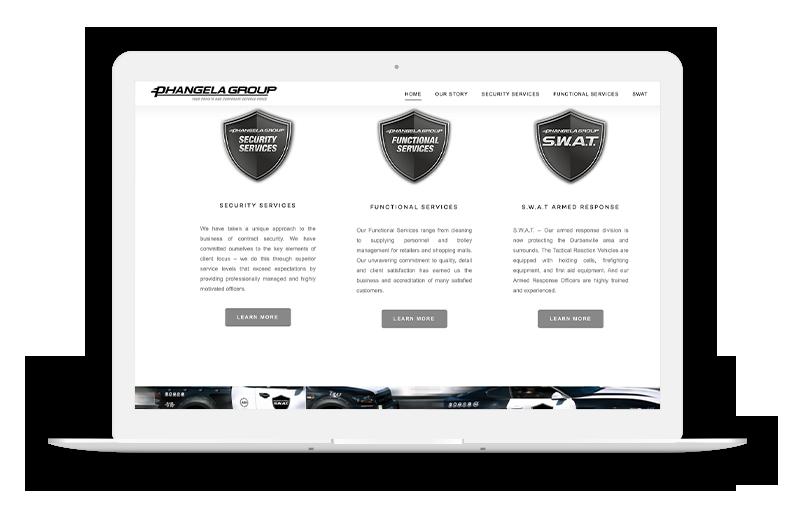 Phangela Group Website on Laptop