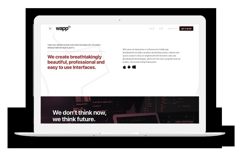 WAPP Software Development Website on Laptop